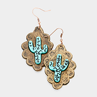 Cactus Leather Petal Dangle Earrings