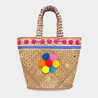 Pom Pom Flower Accented Raffia Beach Tote Bag