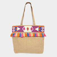 Aztec Beaded Colorful Tassel Fringe Beach Tote Bag