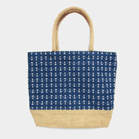 Anchor Patterned Print Beach Tote Bag