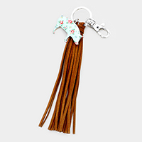 Flower Patterned Pig Suede Tassel Key Chain