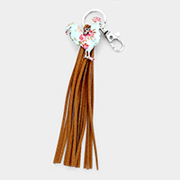 Flower Patterned Rooster Suede Tassel Key Chain