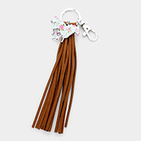 Flower Patterned Running Horse Suede Tassel Key Chain