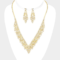 Crystal Rhinestone Pave Leaf Fringe V Necklace