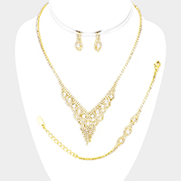 3PCS Rhinestone Pave Pearl Detail Necklace Jewelry Set