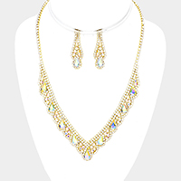 Rhinestone Pave Crystal Teardrop Detail V Necklace