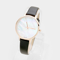 Round Dial  Leather Strap Watch