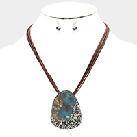 Stone Cluster Abstract Metal Pendant Necklace