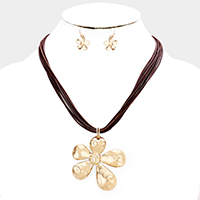 Layered Cord Metal Flower Pendant Necklace