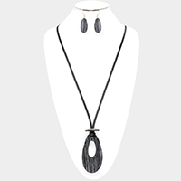 Cut Out Teardrop Pendant Long Necklace