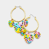 Celluloid Acetate Triple Tropical Leaf Metal Hoop Earrings