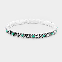 Turquoise Antique Floral Metal Stretch Bracelet