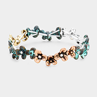 Crystal Wavy Metal Flower Stretch Bracelet
