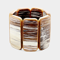 Wide celluloid shell stretch bracelet