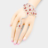 Crystal Oval Accented Net Hand Chain Evening Bracelet