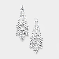 Crystal Rhinestone Pave Leaf Evening Earrings