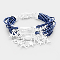 Multi Strand Metal Starfish Charm Toggle Bracelet