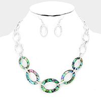 Abalone Hoop Link Bib Necklace