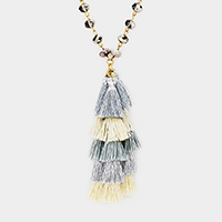 Beaded Layered Tassel Pendant Long Necklace