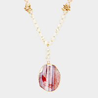 Beaded Beaded Agate Teardrop Pendant Long Necklace
