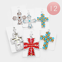 12PCS - Crystal Cross Magnetic Pendants