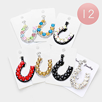 12PCS - Crystal Horseshoe Magnetic Pendants