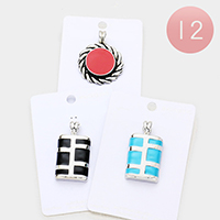 12PCS - Enamel Metal Round Rectangle Magnetic Pendants