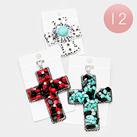 12PCS - Turquoise Red Coral Cluster Cross Magnetic Pendants