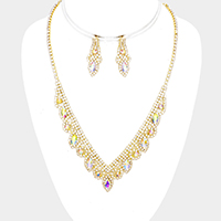Crystal Oval Detail Rhinestone Pave V Collar Bib Necklace