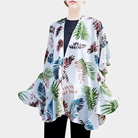 Tropical Print Ruffle Detail Open Poncho