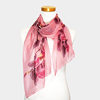 Bird on Tree Print Oblong Scarf