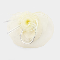 Feather Net Flower Fascinator Headband