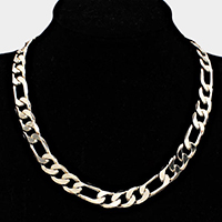 Gold Plated Figaro Chain Metal Necklace