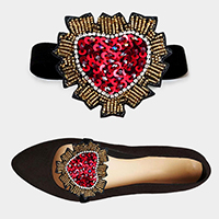 1Pair Sequin Beaded Heart Patch Stretch Shoe Accessory