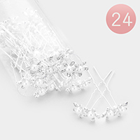 24PCS - Pearl Centered Stone Flower Mini Hair Comb Pins