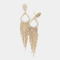 Oversized Teardrop Hoop Rhinestone Pave Fringe Earrings
