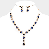 Crystal Oval Detail Rhinestone Trim Evening Necklace