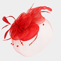 Elegant feather birdcage veil fascinator headband