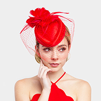 Elegant Feather Flower Veil Fascinator Headband