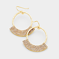 Curved Rhinestone Pave Accented Dangle Earrings
