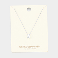 'A' White Gold Dipped Metal Pendant Necklace