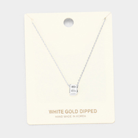 'B' White Gold Dipped Metal Pendant Necklace