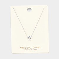'C' White Gold Dipped Metal Pendant Necklace