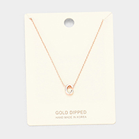 'C' Gold Dipped Metal Pendant Necklace