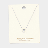 'E' White Gold Dipped Metal Pendant Necklace