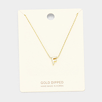'F' Gold Dipped Metal Pendant Necklace
