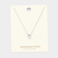 'G' White Gold Dipped Metal Pendant Necklace