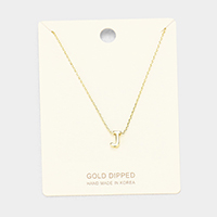 'J' Gold Dipped Metal Pendant Necklace
