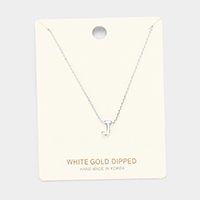 'J' White Gold Dipped Metal Pendant Necklace
