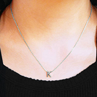 'K' White Gold Dipped Metal Pendant Necklace